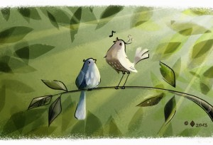 Illustration of two birds singing