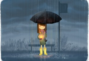 Girl standing in the rain, holding the sun in her hands