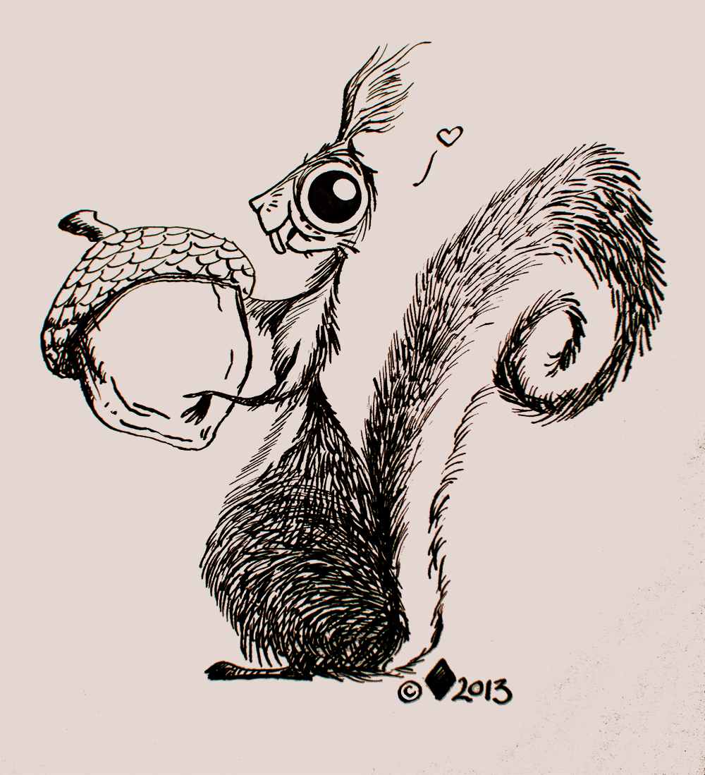 Illustration of Squirrel holding a nut