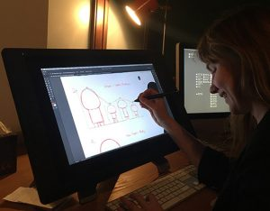 Carolin illustrating on a Wacom